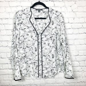 Primark Semi-Sheer Black & White Pattern Blouse